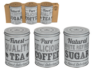 Coffee Tea & Sugar Contents Tins - Set of 3 - White Vintage Storage Jars Box