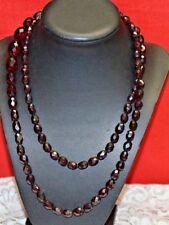 """ANTIQUE NATURAL CHERRY AMBER FACETED BAKELITE 36"""" LONG STRAND BEAD NECKLACE"""