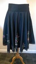 """MONSOON Size UK 10 Eur 38 black flared sequinned beaded skirt 28""""W 30"""" Long"""