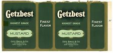 GETZBEST, Vintage Getz Brothers, Mustard *AN ORIGINAL 1920's TIN CAN LABEL* 062