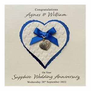 Handmade PERSONALISED Sapphire 45th Wedding Anniversary Card - Heart Charm