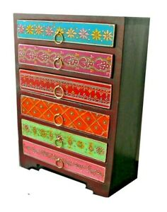Coloured indian wooden Mehandi jewellery box drawers jewelry chest