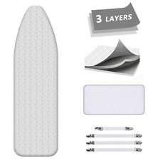 Aushen Ironing Board Cover and Pad Extra Thick Padding Silver Coated Scorch Kit