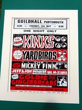 "THE KINKS VINTAGE MOUNTED REPRODUCTION CANVAS CONCERT POSTER 12"" x 10"""