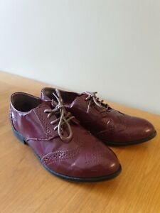 Burgundy Brogues by H&M Smart Lace Up Flat Shoes UK Size 5 EU 38