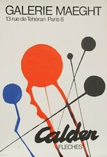 """Alexander Calder"" 1968 Original Litho Galerie Maeght Fleches Exhibition Poster"