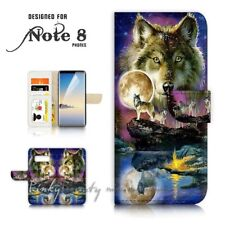 ( For Samsung Note 8 ) Wallet Case Cover P21448 Wolf