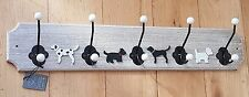 RUSTIC WOODEN 5 HOOK COAT RACK KEY HOLDER STORAGE HOME DECOR DOG THEME LEADS