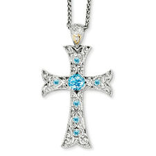 """Blue Topaz Cross Charm 18"""" Necklace .925 Sterling Silver 14K Accent Shey Couture"""