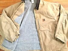 Vintage CARHARTT Brown Fleece Lined Duck Work Coat Jacket Size 4XL
