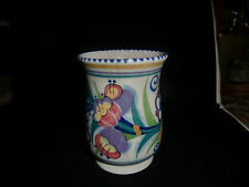 Vintage Poole Pottery Delphis Vase - Yellow, Green & Red/Orange - 4.5 inch tall