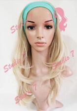 W55 Ash Bleach Blonde Mix 3/4 Hair Fall Long Wavy Half Wig Hair Piece studio7-uk