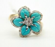 Vintage 14K Yellow Gold Flower Turquoise Cocktail Ring with diamonds Size 6.5