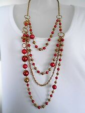 CLEARANCE Red Pearls on Multi-Strand Chain was $18 NOW $10
