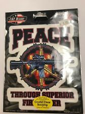 """New Military """"Peace Through---"""" Sticker / Decal Army Navy Marines Air Force"""