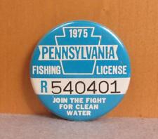 Vintage 1975 Pennsylvania Resident 'R' Fishing License Pin Button PA. Badge Nice