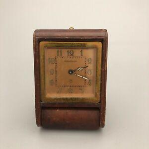 Vintage Jaeger Le Coultre 8 Swiss Made Folding Desk Alarm Clock  26128 CP