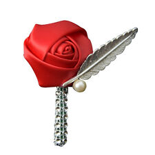 Silk Rose Flowers Groom Corsage Grooms Men Boutonniere Wedding Party Prom