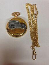 Land Rover Defender ref115 Peltre efecto emblema de oro de cuarzo reloj de bolsillo