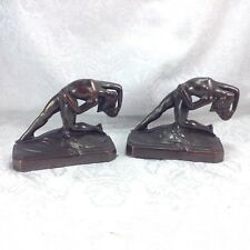 Pompeian Dancer Bronze Art Nouveau Nude Art Deco Lady Woman Nymph Bookends