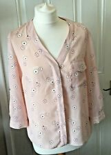 Ladies Dorothy Perkins Pink Floral Blouse 3/4 Sleeves Roll Up Sleeves Size 12 B1