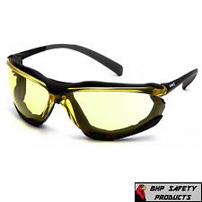 Pyramex Proximity Safety Glasses Foam Padded Black Frame Amber Anti Fog Lens