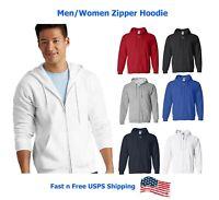 Brand New Men Basic Heavy Blend Cotton Pullover Zip Sweatshirt Hoodie M-2XL