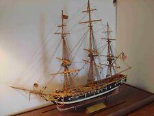 American Frigate Essex Vintage Wooden Display Ship, Salem 1799, With Plaque