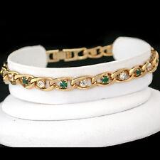 "6mm EMERALD GREEN & WHITE Simulated DIAMOND CURB LINK 14k Gold GL 8"" Bracelet"