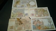 New ListingWorld Old Bank notes France Scarce currency 370 Francs 1948/1942/1950/1952!