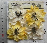 WILD SUNFLOWERS - BURLAP Textured IVORY & YELLOW 4 flower Mixture 5-6cm Petaloo