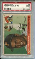 1955 Topps Baseball #164 Roberto Clemente Rookie Card RC Graded PSA 2 Pirates