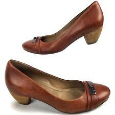 Ecco Womens 38 7-7.5 Shoes Kitten Heel Buckle Slide Slip On Leather Brown - S1