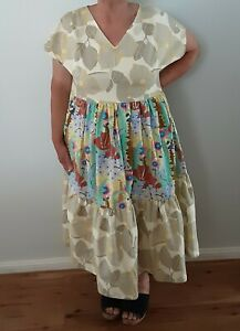 Handmade Plus Size Boho Gypsy Tiered Vintage Cotton Amy Butler Fabric Dress