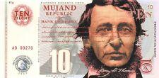 Mujand Republic Banknote 10 Zilchy 2013 Unc Specimen, Private, Note