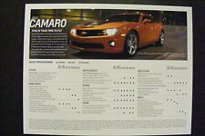 2013 CHEVROLET CAMARO DEALERSHIP INFO SPEC SPECIFICATION CARD NEW