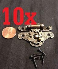2x Lock Hinge Mini Dollhouse Antique Bronze Wood Latch Sets Box Case Small C1