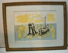 Nautical Picture Boat Tied Off at Sea Signed Dated # 1/100 with Frame Vintage