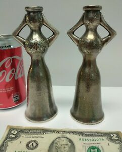 2 Rare ILIAS LALAOUNIS Hammered STERLING SILVER 925 Female Figure Candle Holders
