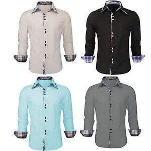 Mens Double Collar Shirts Long Sleeve Slim Fit Formal Casual Cotton Shirts Top