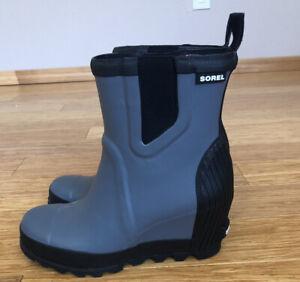 Sorel Joan Wedge Rain Boots Gray NL 2754-053 Women Size 6.5