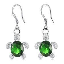 Crystal Turtle Silver Drop Earring Women Party Dating Everyday Wear Jewelry Green