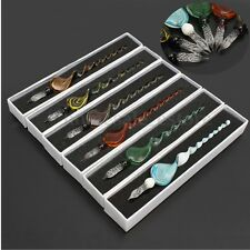 Vintage Handmade Art Elegant Crystal Glass Dip Sign Ink Fountain Pen Gift Box