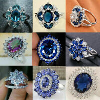 925 Silver White Sapphire Floral Ring Elegant Women Wedding Bridal Jewelry 6-10