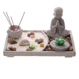 Rectangular Zen Garden & Buddha - Incense Tea Light Candle Holder Gift Set Box