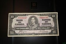 1937 $10 Dollar Bank of Canada Banknote BT5526747 F 12