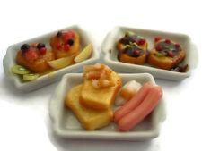 3 Set Breakfast Bread Sausage Fruit on Plate Dollhouse Miniatures Food -1