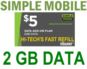 $5 SIMPLE MOBILE 🔥 DATA ADD-ON 🔥 >> FASTEST🔥 DIRECT TO YOUR PHONE > FAST