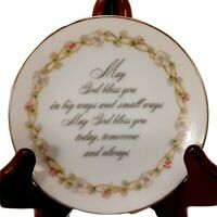 Mini Lasting Treasures Christian Plate May God Bless You Porcelain Japan