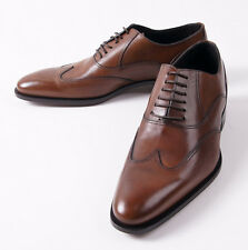 NIB $695 CANALI 1934 Cognac Brown Leather Wingtip Balmoral US 7 D Dress Shoes
